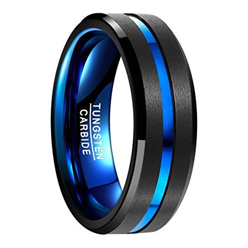 Ring Herren/Damen Wolframcarbid Außenbreite 8mm bequem, Men Fashion Schmuck ✔Ehering ✔Verlobungsring ✔Freundschaftsring ✔Lifestyle-Ring, schwarz+blau, Größe 49 bis 77