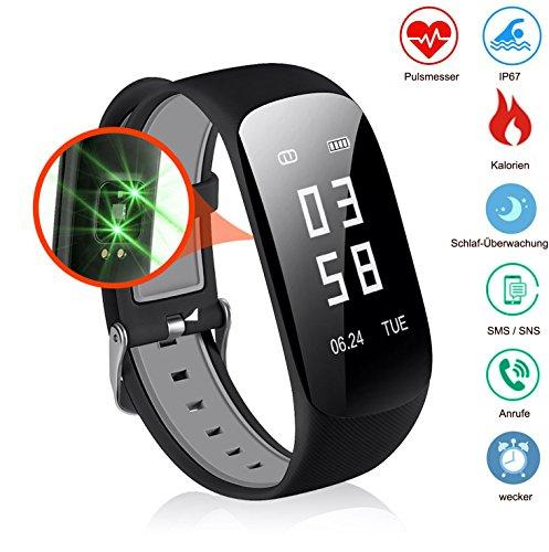 Slim Touch Wasserdicht Fitness Armbänder mit Pulsmesser,Smart Fitness Tracker mit Herzfrequenzmesser, Schrittzähler, Schlaf-Monitor, Aktivitätstracker,Anrufen / SMS, für Android iOS Smartphone.