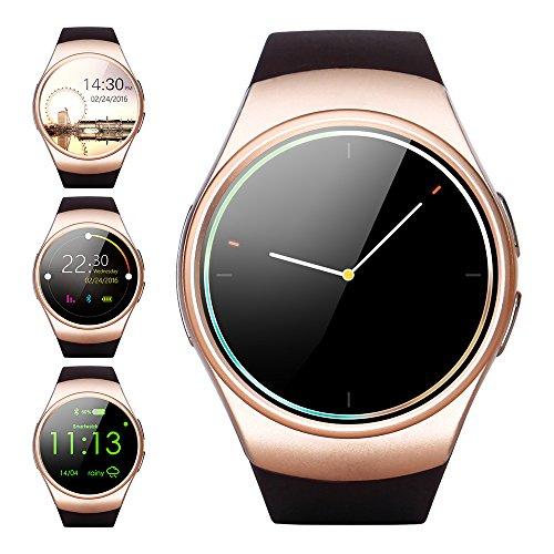 Smartwatch, HUMTUS Armbanduhr Bluetooth 4.0 IPS Touchscreen Herzfrequenz Schrittzähler Schlafmonitor Sitzende Erinnerung Audio/Videoplayer 1.3 Zoll für Android OS und iOS