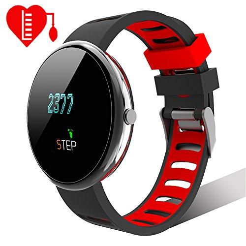 Smartwatch Sport Fitness Uhr HR Lintelek Fitness Tracker mit Touchscreen Aktivitäts-Tracker Herzfrequenz Schrittzähler Sport Uhr Fitnessuhr Armbanduhr Withings Steel Uhrenarmband