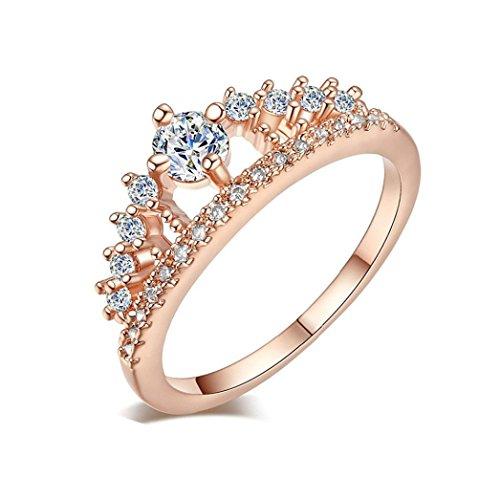 VJGOAL Damen Ring, 2018 Geschenk der Frau Valentine Neue Dame Fashion Gold Ziemlich Krone Kristall Prinzessin Verlobungsring