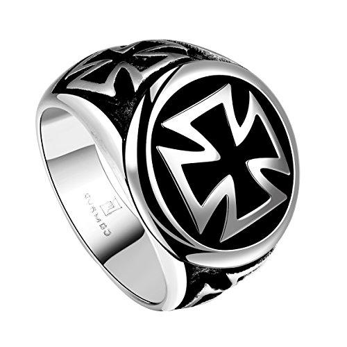 Yodensity Herren-Ring Kreuz Retro Edestahl Klassiker Siegelring Handgeschnitzt Schmuck