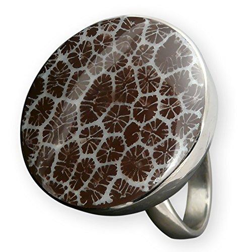 Fly Style Damen-Finger-Ring Koralle Stein-Edelstahl Verstellbar Braun-Silber risst116