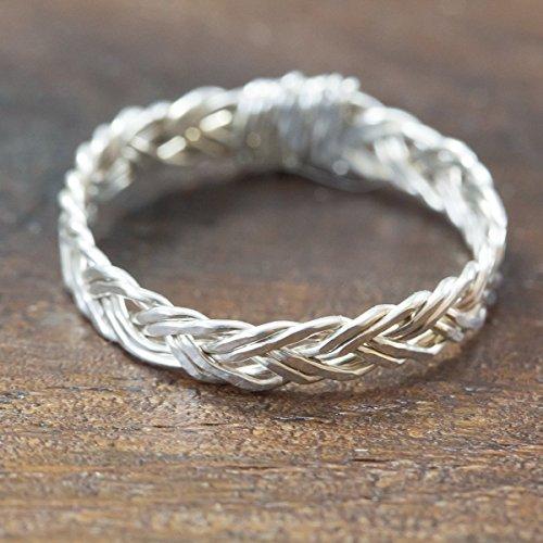 Hand-geflochtener Silber-Ring mit keltischem Flecht-Muster aus echtem 925 Sterling-Silber/in allen Größen/Damen-Ring Flecht-Ring Silber-Schmuck