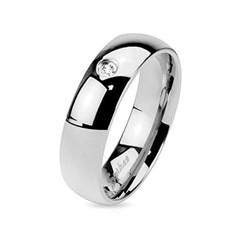 Mianova Band Ring Edelstahl poliert mit Kristall für Damen oder Herren