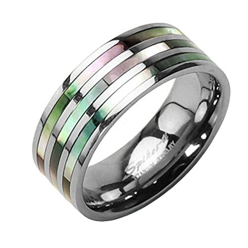 Mianova Band Ring Titan Wedding Triple Abalone Perlmutt Inlay für Damen oder Herren