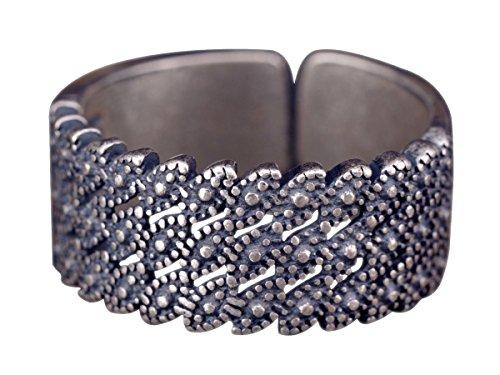 NicoWerk Silberring Blatt Breit Vintage Durchlöchert Ethno Natur Ring Silber 925 Verstellbar Damenringe Damen Schmuck Sterling SRI261