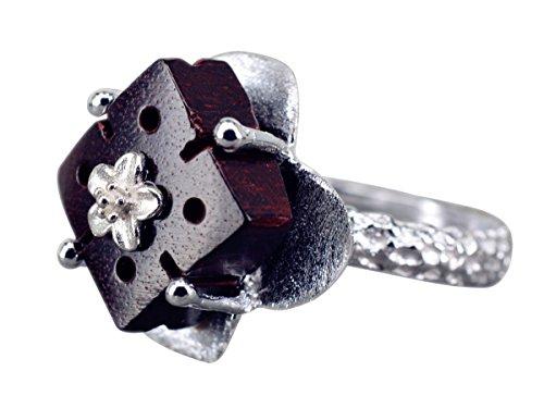 NicoWerk Silberring Holz Würfel Blume Braun Ethno Ring Silber 925 Verstellbar Damenringe Damen Schmuck SRI220