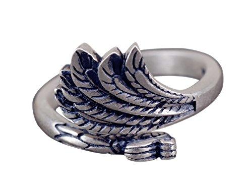 NicoWerk Silberring Pfau Vintage Ethno Ring Silber 925 Verstellbar Damenringe Damen Schmuck SRI228
