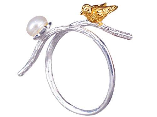 NicoWerk Silberring Vogel Ast Perle Golden Ethno Natur Ring Silber 925 Verstellbar Damenringe Damen Schmuck Sterling SRI269
