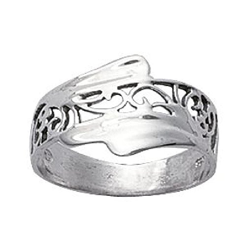 So Chic Schmuck - Damenring Fingerring Ethno-Stil Spiralen Voluten Sterling Silber 925 Rhodiniert