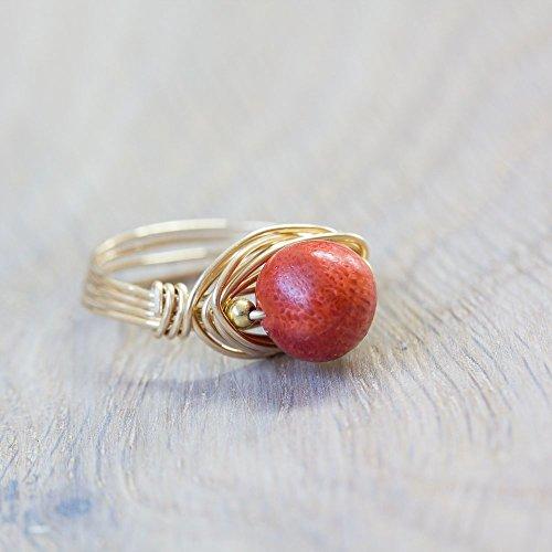 Vergoldeter Edelstein-Ring mit roter echter Schaum-Koralle X in allen Größen X hochwertige und haltbare Vergoldung X sorgfältige Handarbeit