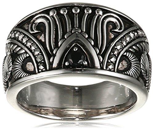caï women Damen-Ring India Ethno 925 Silber rhodiniert Spinell schwarz Markasit