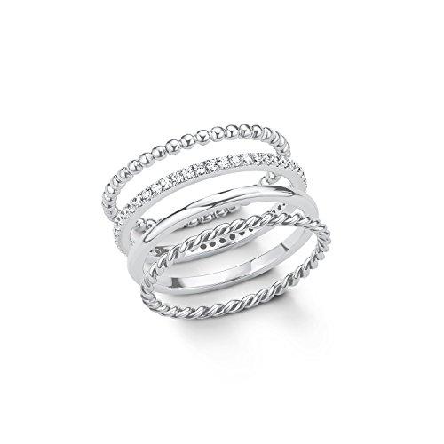S.Oliver Damen Ring Set 925 Sterling Silber rhodiniert Zirkonia weiß, Gr. 50 (15.9)