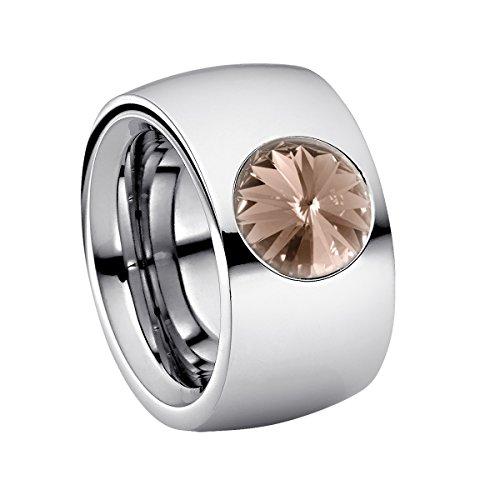 Heideman Ring Damen Coma 14 aus Edelstahl Silber farbend poliert Damenring für Frauen mit Swarovski Stein Kristall grau im Fantasie Edelsteinschliff 10mm