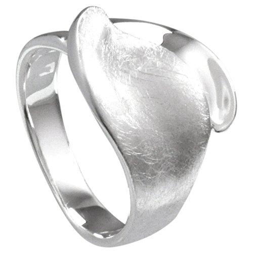 Vinani Ring Blatt gebürstet glänzend Sterling Silber 925 Größe 58 (18.5) RBT58
