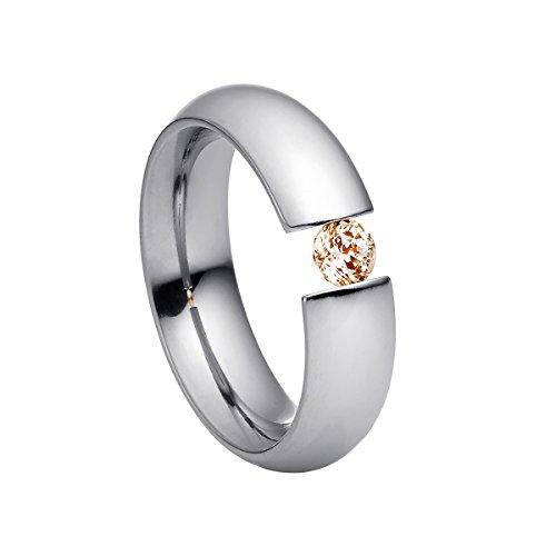 Heideman Ring Damen Intensio aus Edelstahl Silber farbend poliert Damenring für Frauen mit Swarovski Stein Zirkonia braun im Brillant Schliff 4mm