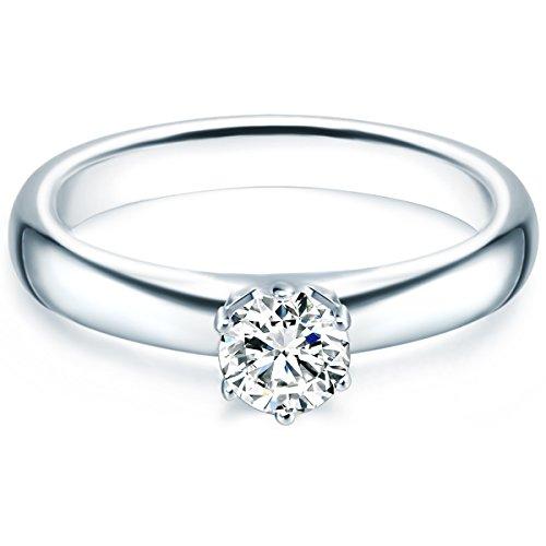 Tresor 1934 Damen-Ring/Verlobungsring/Solitärring Sterling Silber rhodiniert Zirkonia weiß 60451014