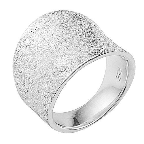 Vinani Ring gewölbt schlicht gebürstet breit massiv Sterling Silber 925 Größe 58 (18.5) 2RMX58
