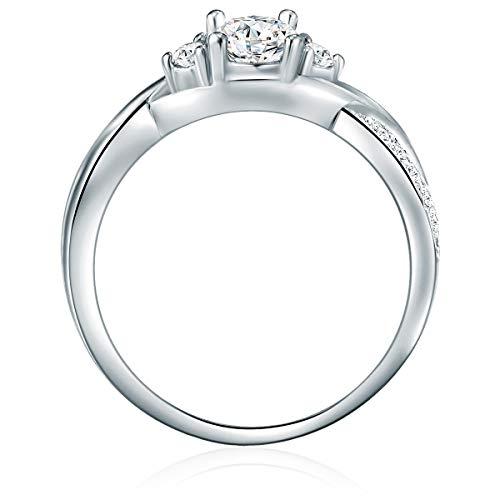 Tresor 1934 Damen-Ring Verlobungsring Sterling Silber 925 mit Zirkonia in Brillant-Schliff - Wickelring Ehering in…