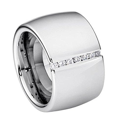 Heideman Ring Damen Lines aus Edelstahl Silber farbend poliert Damenring für Frauen mit Swarovski Stein Zirkonia Weiss im Brillant Schliff 1,5mm