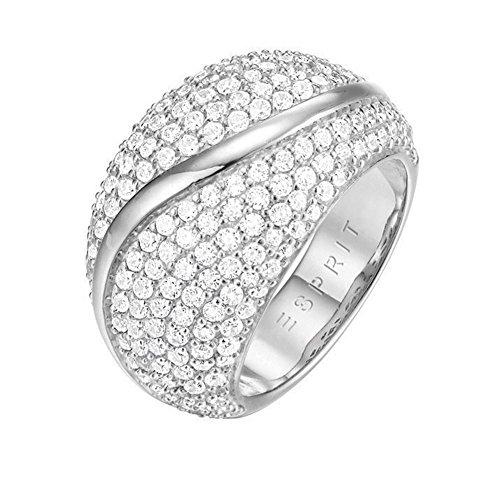 ESPRIT Glamour Damen-Ring ES-ATROPIA rhodiniert Zirkonia transparent Gr. 57 (18.1) - ESRG02844A180