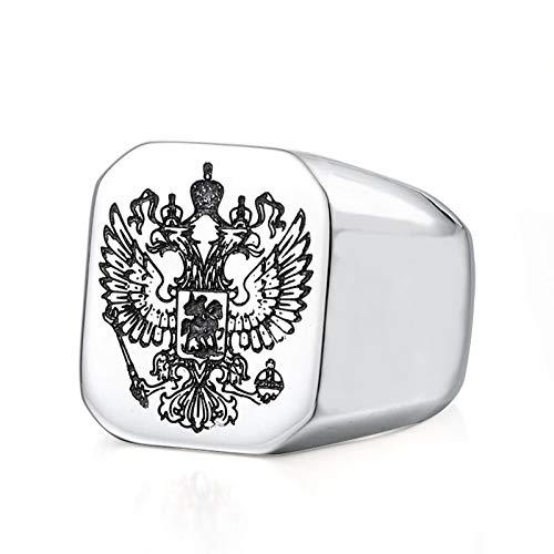 Bishilin Ring Herren Edelstahl, Ringe Gothic Adler Glänzend Poliert Siegelring Quadrat Männer Ring Silber Schwarz Gold…