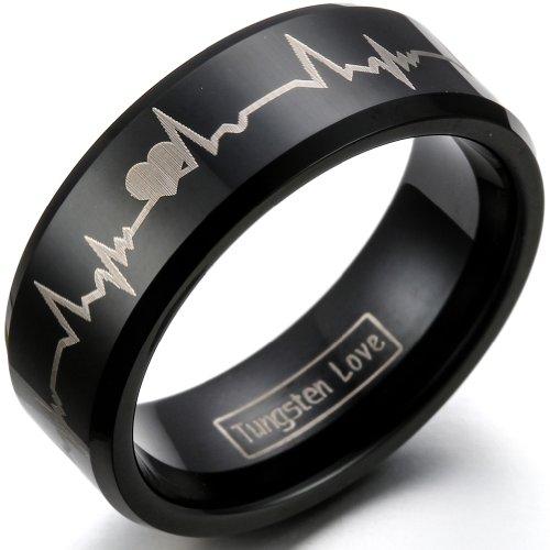 JewelryWe Schmuck Breit 8mm Wolfram Wolframcarbid Herren Ring Band, Herzen & Herzschlag Partnerringe für Verlobung…