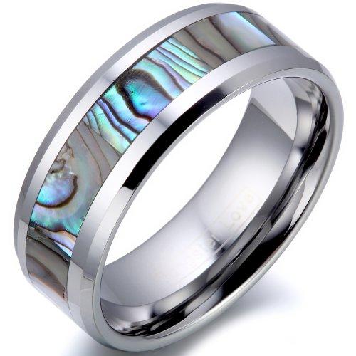 JewelryWe Schmuck Herren 8mm Breit Wolfram Wolframcarbid Ring Band Glänzend mit Abalone Muscheln Inlay Engagement…