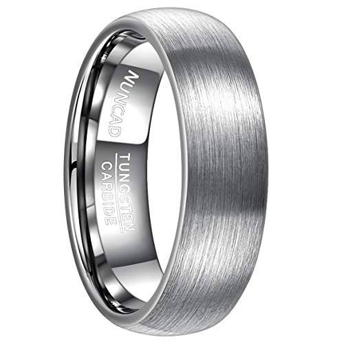 NUNCAD Herren Ring Silber/Gold aus Wolfram mit polierter Oberschicht, Unisex Ring 7mm 6mm breit, Fashion Ring für…