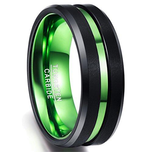 NUNCAD Ring Herren/Damen aus Wolframcarbid, Comfort-Fit, perfekt für Party, Hochzeit, Verlobung und Hobby