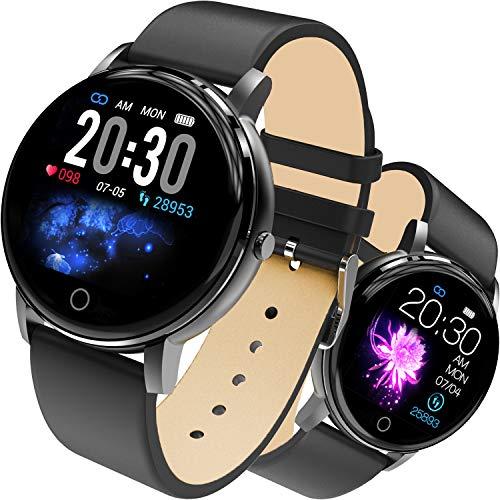 jpantech Smartwatch, Wasserdicht Smart Watch Intelligente Aktivitäts Uhr Sportuhr, Damen Herren Pulsmesser Schlafmonitor SMS Beachten Armbanduhr (Schwarz)
