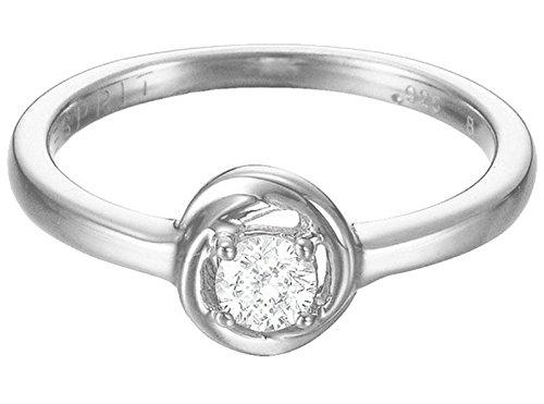 Esprit Damen-Ring Twist 925 Silber rhodiniert Zirkonia weiß Rundschliff