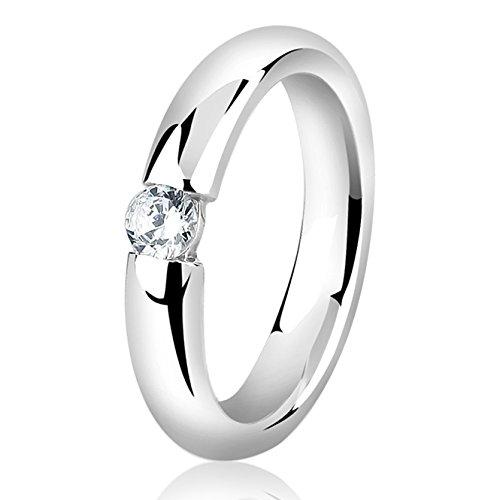 Nenalina Damen Ring Silberring besetzt mit 4 mm weißem Cubic Zirkonia, handgearbeitet aus 925 Sterling Silber, 212267…