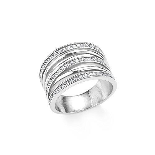 s.Oliver Damen-Ring 15 mm Edelstahl Zirkonia weiß - 20151_15
