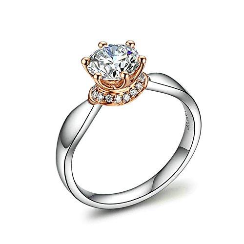 Aeici 18K Gold Ring Damenring Sechs Klaue CZ-Kristall Silber Größe 57 (18.1)