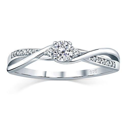 SILVEGO Verlobungsrring mit Swarovski® Zirconia 925 Sterling Silber (49 (15.6))