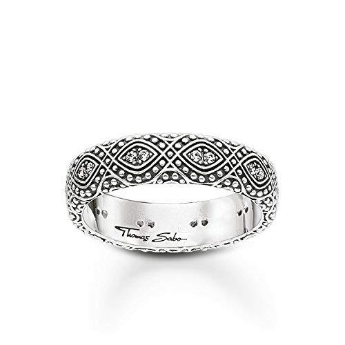 Thomas Sabo Damen-Ring Glam & Soul 925 Sterling Silber geschwärzt Zirkonia weiß Gr. 54 (17.2) TR2092-643-14-54