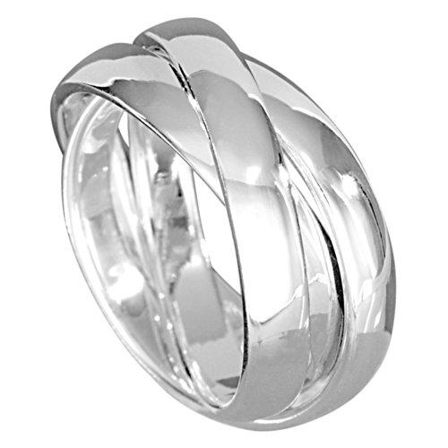 Vinani 3er Ring Wickelring massiv glänzend 3 Ringe beweglich Sterling Silber 925 Dreierring R3R